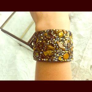 Tiger's eye and rhinestone cuff bracelet